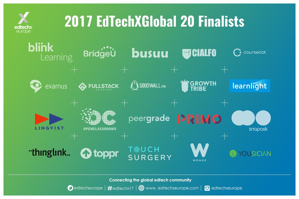 2017 EdTechXGlobal 20 Finalists20 Finalists