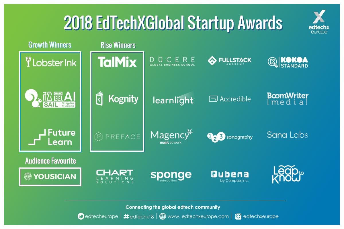 2018 EdTechXGlobal All Stars Startup Awards